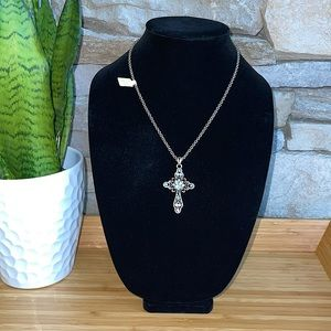 🌸 Lia Sophia Silver Cross Necklace with Blue Crystals